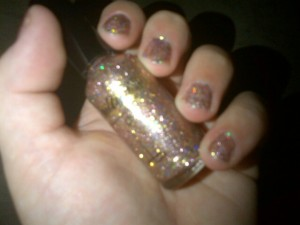 This Nailtini polish can be layered for a very pretty, sparkly holiday manicure.