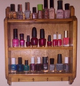 Turns out, a standard spice rack is perfect for storing and displaying nail polish!