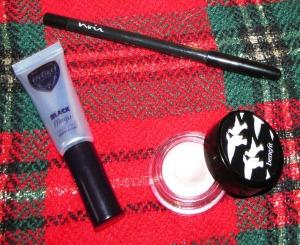 Power trio: Benefit Creaseless Cream Shadow/Liner in r.s.v.p., Noir Long-Wear Eyeliner in Forever Noir, and Eyeko Black Magic Mascara