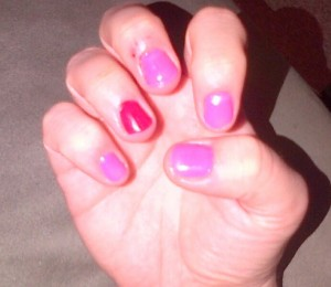 My Valentine's Day-inspired manicure. (Please excuse my cracked winter cuticles - ouch!)